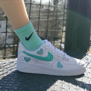 Custom Nike Air Force 1 Custom Hearts Turquoise